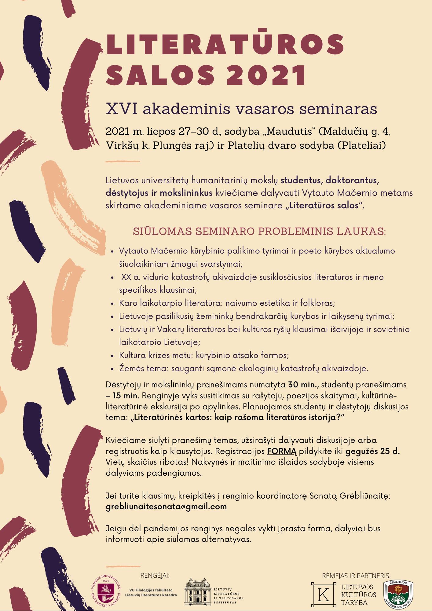 """Kviečiama registruotis į akademinį vasaros seminarą """"Literatūros salos 2021"""""""