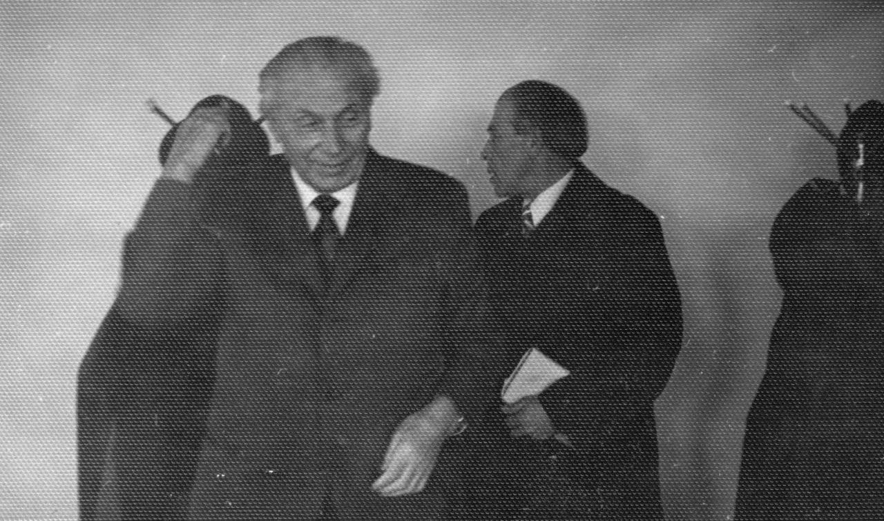 Rašytojai J. Grušas ir L. Zaleckis