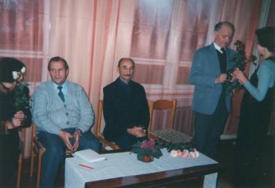 Rašytojai S. Abromavičius, J. Laucė ir S. Daunys