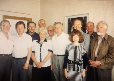 """Susitikimas su V. Adamkumi """"Santaros"""" redakcijoje"""