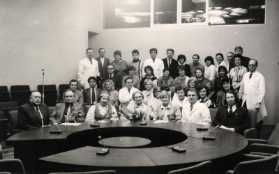 Satyrikai A. Dabulskis ir R. Klusas po susitikimo su Kauno Kardiologijos instituto medikais